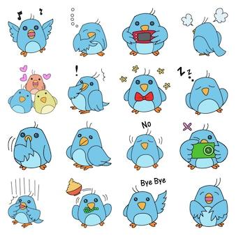 Illustratie van leuke blauwe vogelreeks