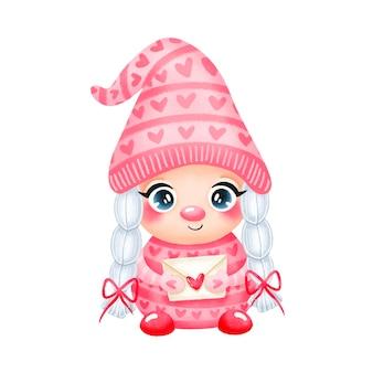 Illustratie van leuke cartoon valentijnsdag gnome meisje verliefd geïsoleerd