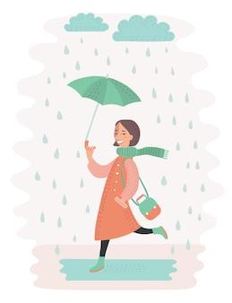 Illustratie van leuke jonge vrouw die in de regen met paraplu loopt