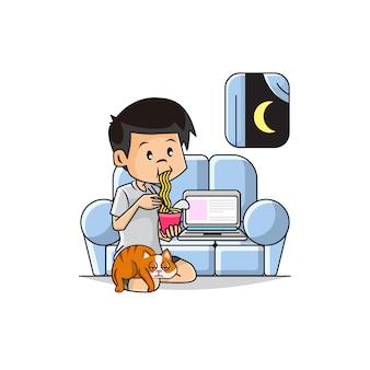 Illustratie van leuke jongen die onmiddellijke noedels in de woonkamerbank eten