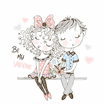Illustratie van leuke jongen en meisje op eerste rendez-vous.
