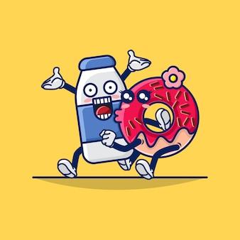 Illustratie van leuke paarmelk en doughnutmascotte