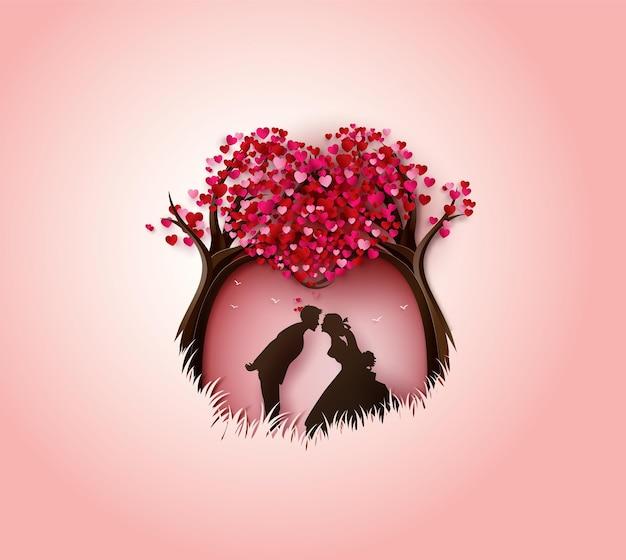 Illustratie van liefde en valentijnsdag.