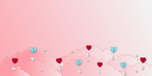 Illustratie van liefde en valentijnskaartdag met hartballon, gift en wolken