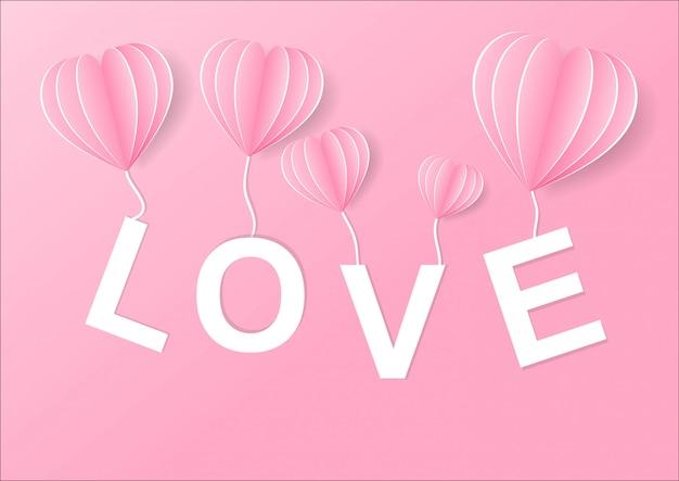 Illustratie van liefde en valentijnskaartdag, origami gemaakte hete luchtballon