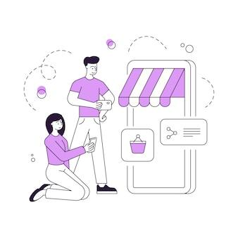 Illustratie van lineaire man en vrouw die smartphones gebruiken om goederen te kiezen en te kopen in handige toepassing voor digitale apparaten