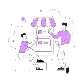 Illustratie van lineaire mannen met moderne smartphone die verschillende merchandises kiezen en kopen terwijl ze samen door de website van de online winkel bladeren