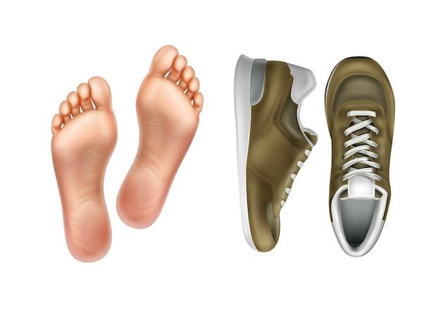 Illustratie van linker en rechter voetzolen voor schoeisel paar sportschoenen