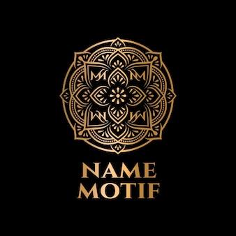 Illustratie van logo-ontwerp mandala-motief met luxe gouden kleur