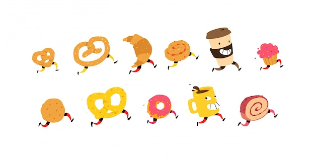 Illustratie van lopende snacks en koffie