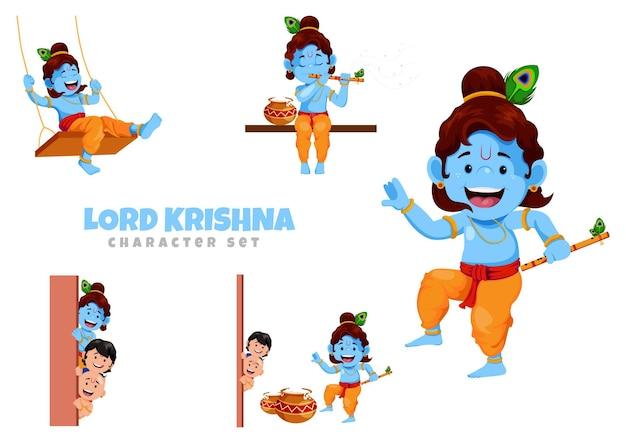 Illustratie van lord krishna tekenset