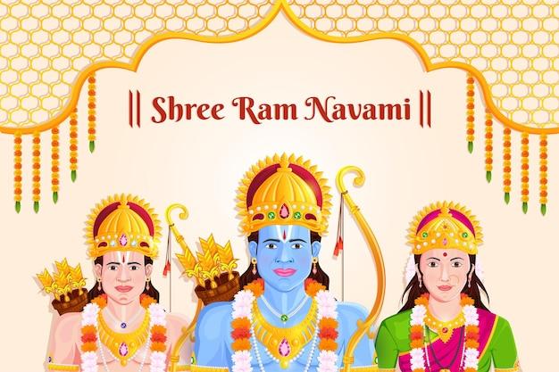 Illustratie van lord rama, sita, laxmana, ram navami celebration festival of india
