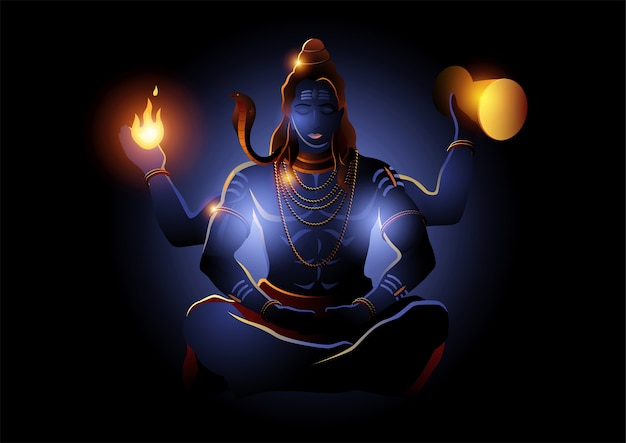 Illustratie van lord shiva, indiase hindoe-god