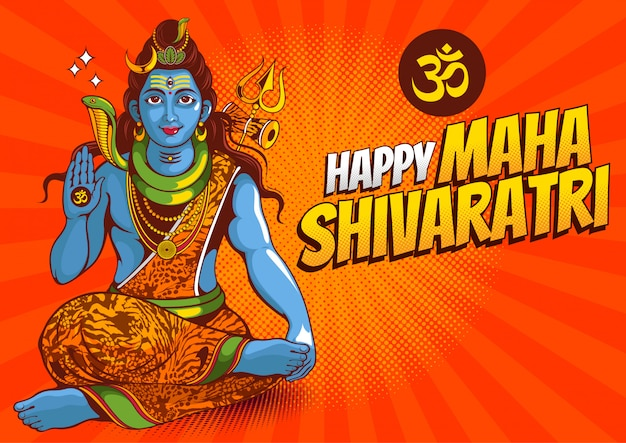 Illustratie van lord shiva van india voor het traditionele hindoe-festival, maha shivaratri