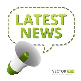 Illustratie van luidspreker of megafoon met tekstballon en laatste nieuws tekst geïsoleerd