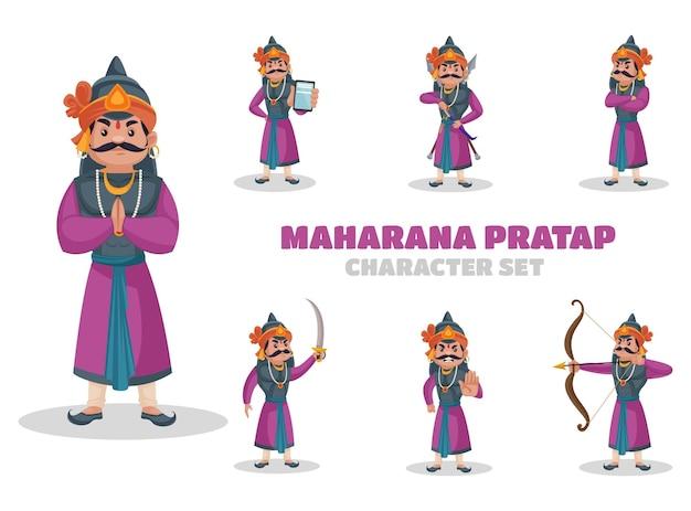 Illustratie van maharana pratap-tekenset