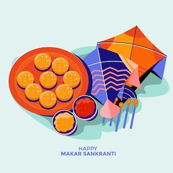 Illustratie van makar sankranti met kleurrijke vlieger en laddu-cake voor festival van india
