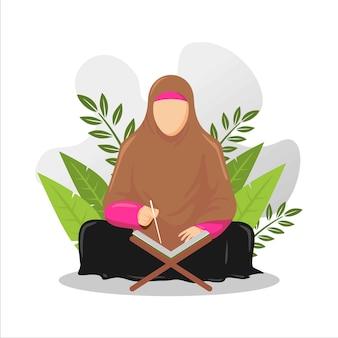 Illustratie van man en vrouw die de heilige koran bestuderen en lezen in hun dagelijkse bezigheden