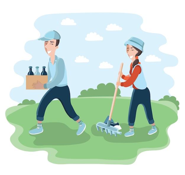 Illustratie van man en vrouw maken het park of de tuin schoon