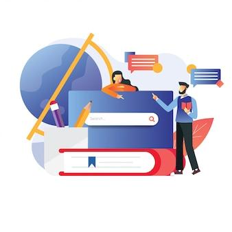 Illustratie van man en vrouw praten over onderzoek met wereldbol boeken en glas potloden