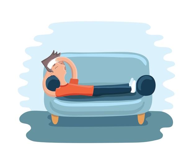 Illustratie van man liggend met een kompres op het voorhoofd op de bank en lijden aan hoofdpijn