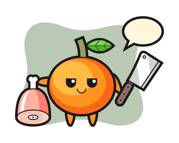 Illustratie van mandarijnkarakter als slager, leuk stijlontwerp
