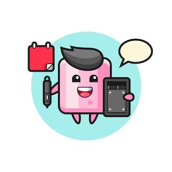Illustratie van marshmallow-mascotte als grafisch ontwerper, schattig stijlontwerp voor t-shirt, sticker, logo-element