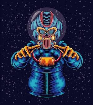 Illustratie van mecha-astronaut in de ruimte