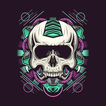 Illustratie van mechanisch schedelhoofd gedetailleerd ontwerp