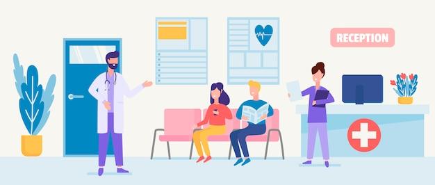 Illustratie van medische zorg met karakters van gecertificeerde artsen, verpleegkundigen in een ziekenhuisreceptie.