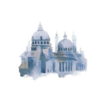 Illustratie van mediterrane stad die de buitenkant van de het waterkleur van het de bouw buiten bouwen