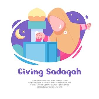 Illustratie van meisje dat sadaqah geeft tijdens ramadan