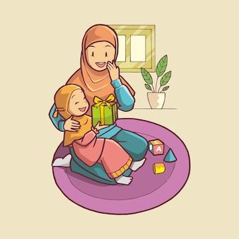 Illustratie van meisje geeft een cadeau aan haar moeder handgetekende kunst