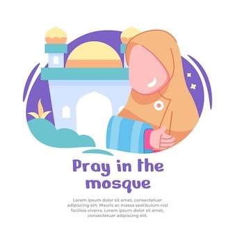 Illustratie van meisje gelukkig bidden in moskee