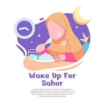 Illustratie van meisje opstaan bij dageraad om sahur te eten