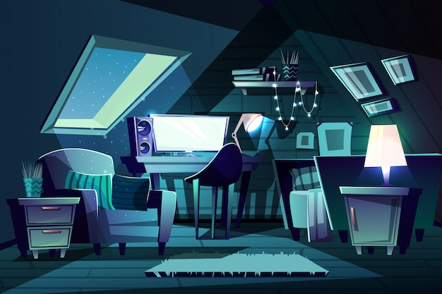 Illustratie van meisje's kamer 's nachts. cartoon zolderkamer met raam, fauteuil met kussen