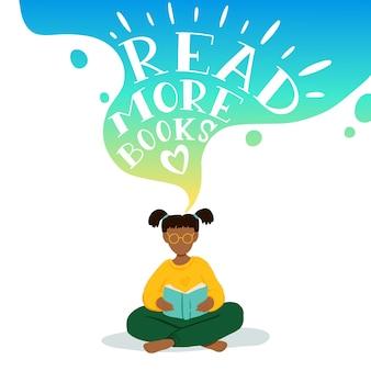 Illustratie van meisje zitten en lezen van boek, dromen.
