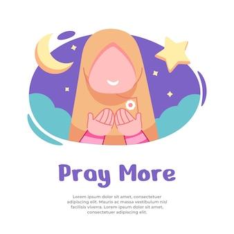 Illustratie van meisjes die meer bidden tijdens de maand ramadan