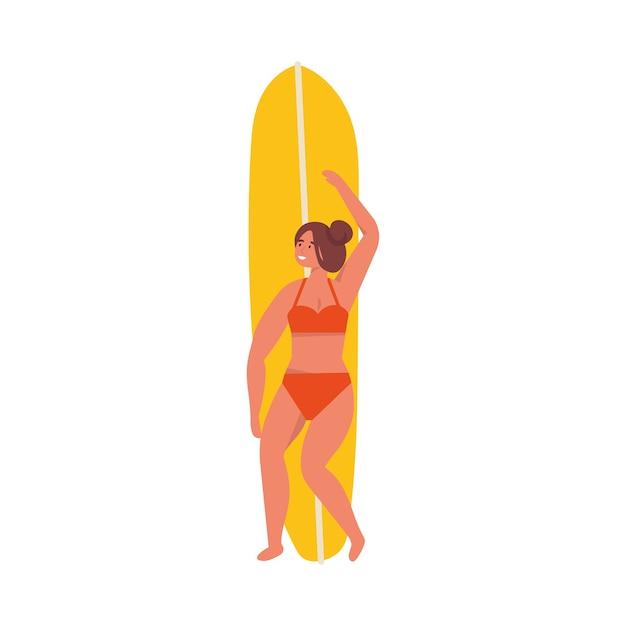 Illustratie van meisjessurfer die zich met een surfplank bevindt. zomer.