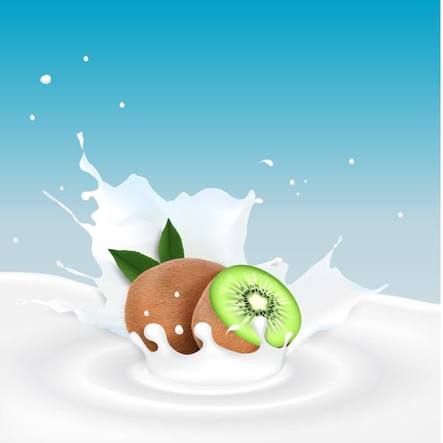 Illustratie van melkplons met kiwivruchten
