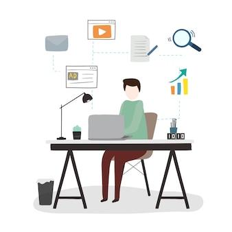 Illustratie van menselijke avatar die technologie gebruikt
