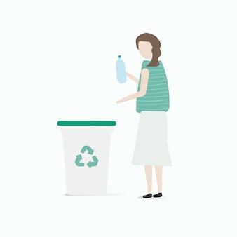 Illustratie van menselijke avatar met milieu Gratis Vector