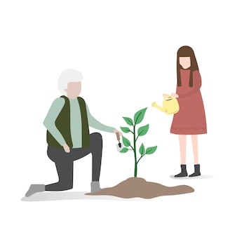 Illustratie van menselijke avatar met milieu
