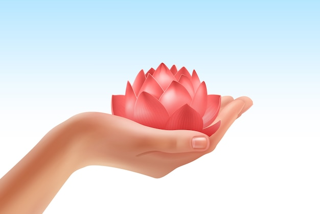 Illustratie van menselijke hand die mooie bloem houdt