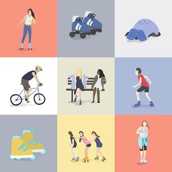 Illustratie van menselijke hobby's en activiteiten