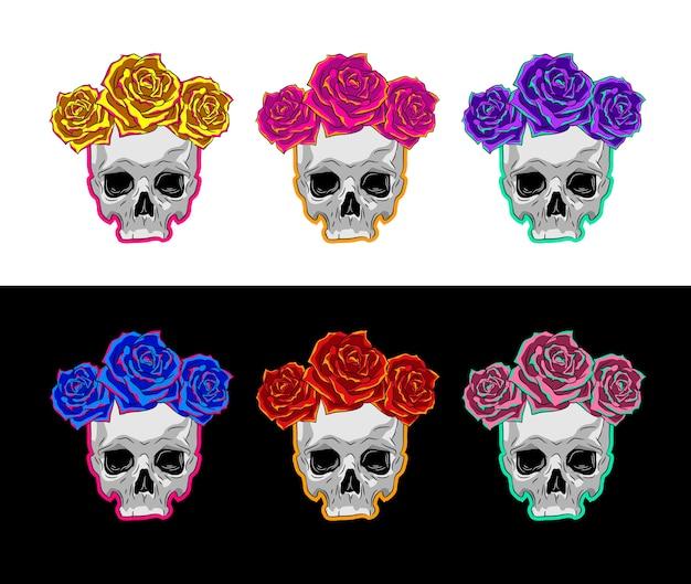 Illustratie van menselijke schedel met krans van rode rozen op hoofd