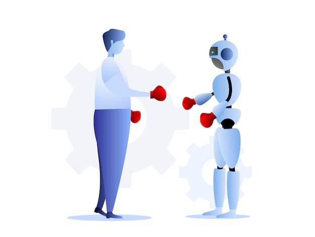 Illustratie van menselijke versus robots bedrijfsuitdagingsconcept