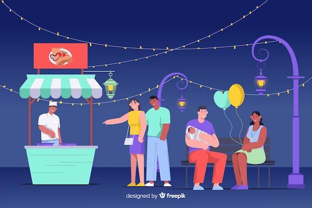 Illustratie van mensen bij een nachtmarkt