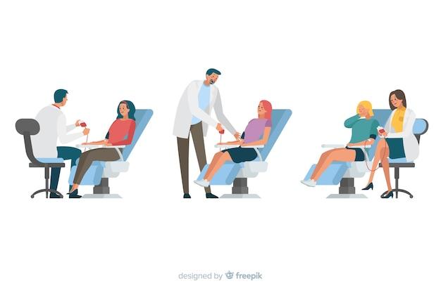 Illustratie van mensen die bloed doneren