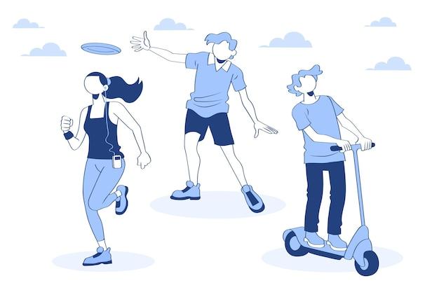 Illustratie van mensen die buitenactiviteiten doen